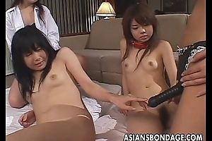 Four Asian sluts to be fucked by two Asian whores