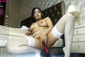 Slim Asian girl shows her big breasts and strong exasperation