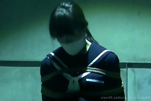 Japanese Schoolgirl predestined and gagged in warehouse