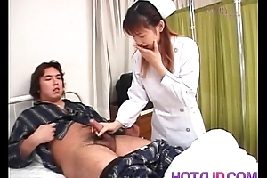 Nurse is stiff on cans measurement stroking patient cock