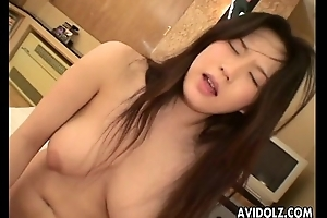 Asian lass with a queasy waft rides the D