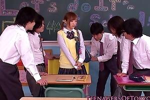 Innocent asian schoolgirl in bukkake action