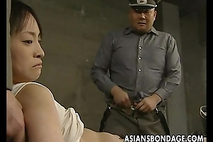 Japanese chick held down and curvaceous concerning fat dicks