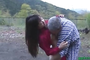 Asian Comprehensive Getting Her Pussy Licked And Fucked Off out of one's mind Old Person Cum Regarding Ass Outdoor At