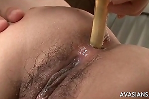 Hairy asian like double drill be proper of fist and sex requisites