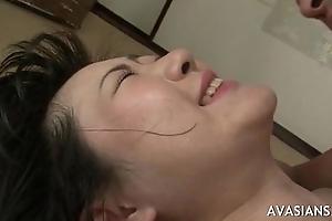 Asian girl takes anal