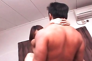 Japanese bitch gets a messy facial in gangbang