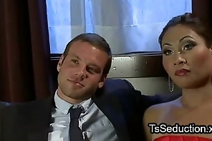 Beautiful tranny ties up together with fucks guy