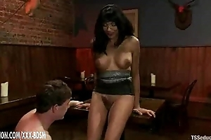 Tranny coupled with say no to slave gives blowjobs to each successive