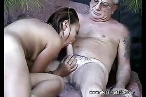 Uncle Jesse Gets His Cock Sucked By Asian Battle-axe