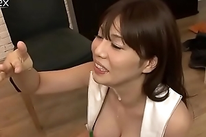 Insatiabel gal from Japan Karen Natsuhara takes cum on her lips