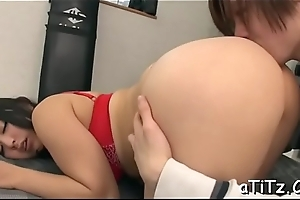 Breasty japanese darling arouses with wicked titty roger