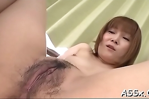 Neglected japanese chick delights her vagina and anal with marital-devices