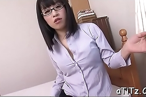 Breasty japanese follower groupie arouses with wicked titty fuck