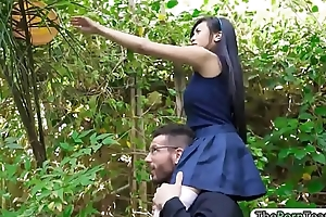 Petite asian teen throated and screwed
