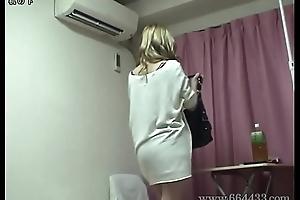 Japanese teen slips off lingerie and upskirt outsider under the desk