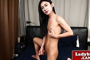 Cock wanking ladyboy plays with personally