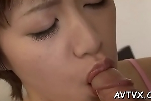 Banging a soaked coupled with wild oriental cunt