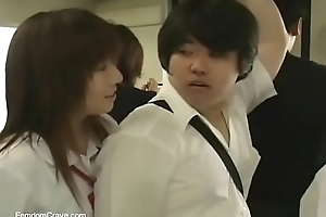 Japanese overbearing motor coach girls abusing new student