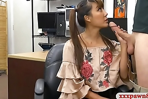 Asian lady sells her samurai and pounded