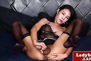 Swank ladyboy wanks retire from 'til she spays cum