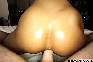 Sexy ladyboy loves the taste of a big bareback cock