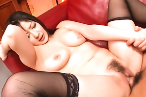 Passionate fuck thither a incomparable brunette alongside the nylons Megumi Haruka