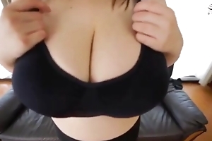 Japanese huge boob bra change
