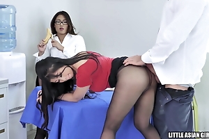 Hot Asian Secretaries In Pantyhose Fuck Boss in Lunchroom