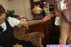 Runna Sakai mouldy Asian waitress gets legs spread for pussy play