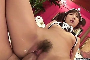 Asian maid ends up in a very raunchy threesome