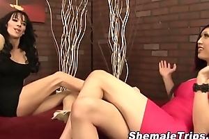 Shemales jizzing threeway