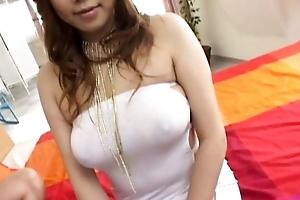 Busty Waka Sato enjoys cock upon her tight holes