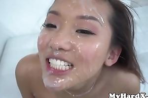 Gonzo asian gets bukkake facial